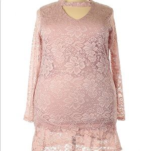 3/$40 Moral Fiber Pink Long Sleeve Lace Dress 3X